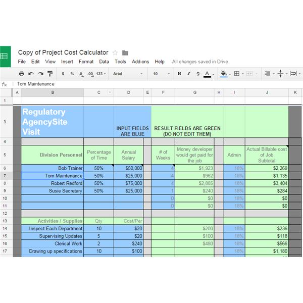 10 great google docs project management templates type in the project cost calculator pronofoot35fo Choice Image