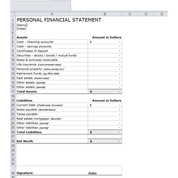 OneStop Guide to Financial Forecasting Including Free Templates – Sample Personal Financial Statement Form