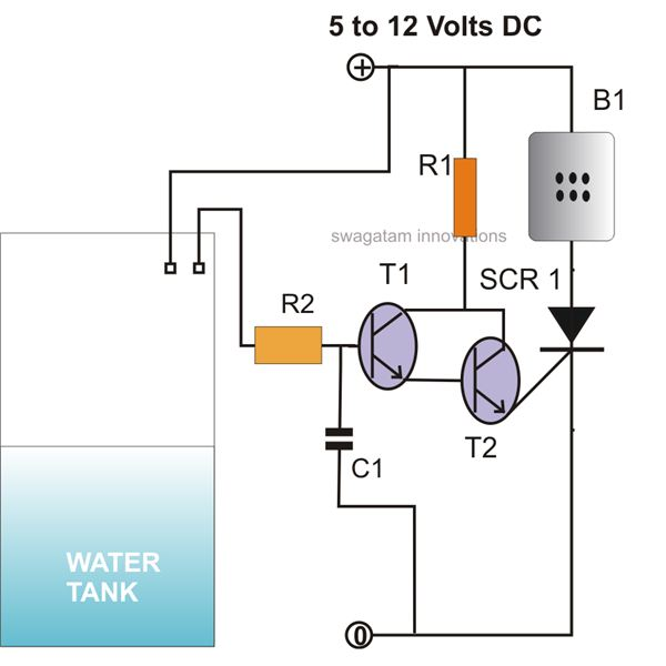 how to make simple scr circuits simple scr controlled water level alarm circuit diagram image