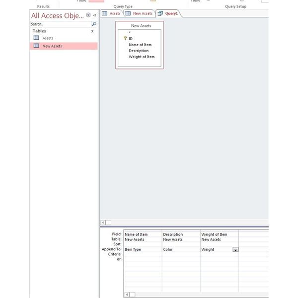 Working with append queries in access 2013 tutorial example for Query design window