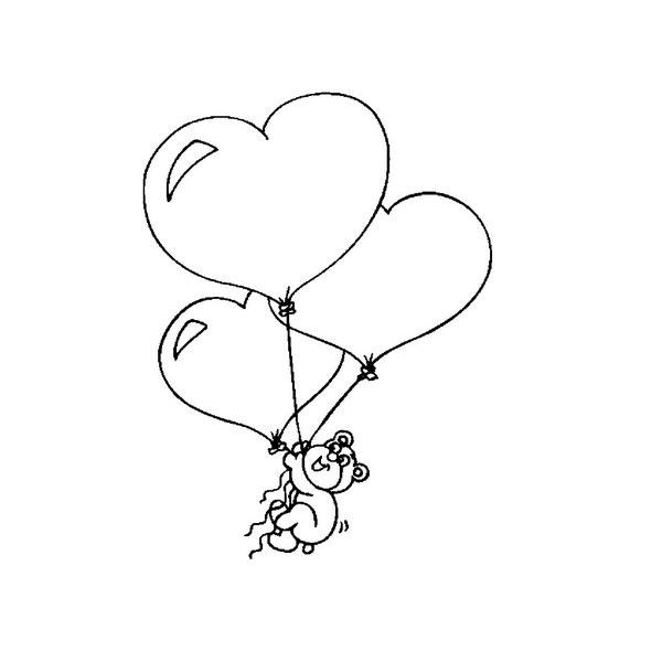 valentines day coloring bear holding heart balloons