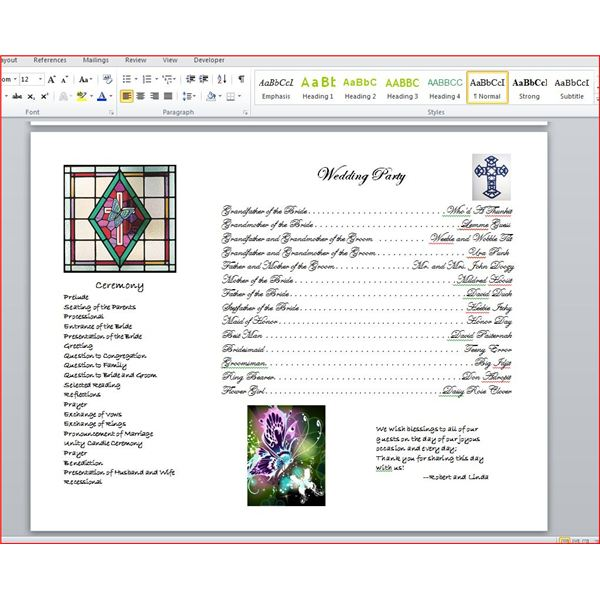 How To Write A Wedding Program Using Microsoft Word