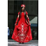 Turkish girl wearing red dress with traditional Turrkish elements