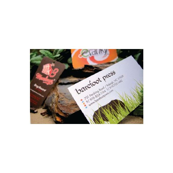 With Several Packages From Which To Choose Barefoot Press Offers Recycled Business Cards Printed Soy Inks On Both Sides In Full Color