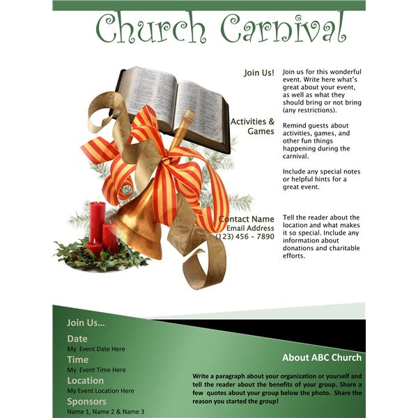 3 church carnival flyer templates using microsoft office. Black Bedroom Furniture Sets. Home Design Ideas