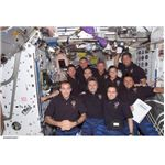 Crews of Expeditions 4 and 5 as well as STS-111 in a group picture
