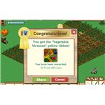 Vegetable Virtuoso yellow ribbon- for a variety of crops. Note reward of XP and coins