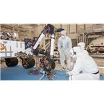 Curiosity's robotic arm in NASA's Jet Propulsion Laboratory