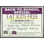 eat kids free sign