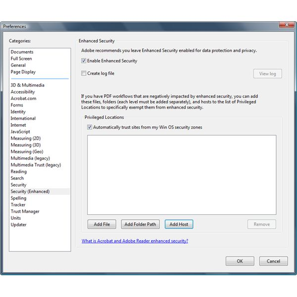 how to change security settings in adobe reader
