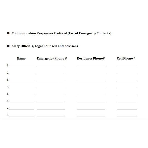 Free Downloadable Template A Plan for Crisis Management – Contacts Template Word
