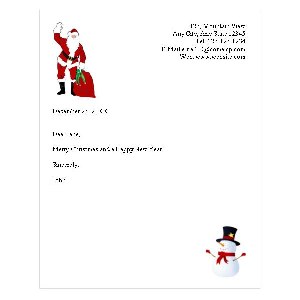 Santa Claus Letter Head Picture | New Calendar Template Site