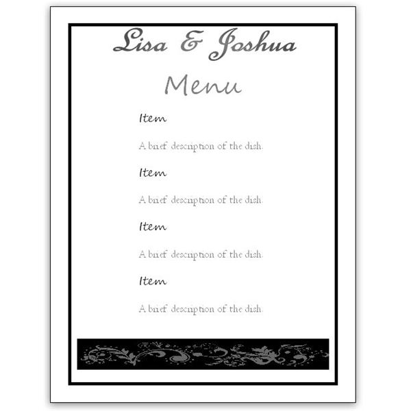 Incredible Free Wedding Menu Card Templates 600 x 600 · 30 kB · jpeg