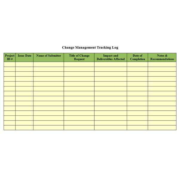 Screenshot Change Management Tracking Log  Project Log Template