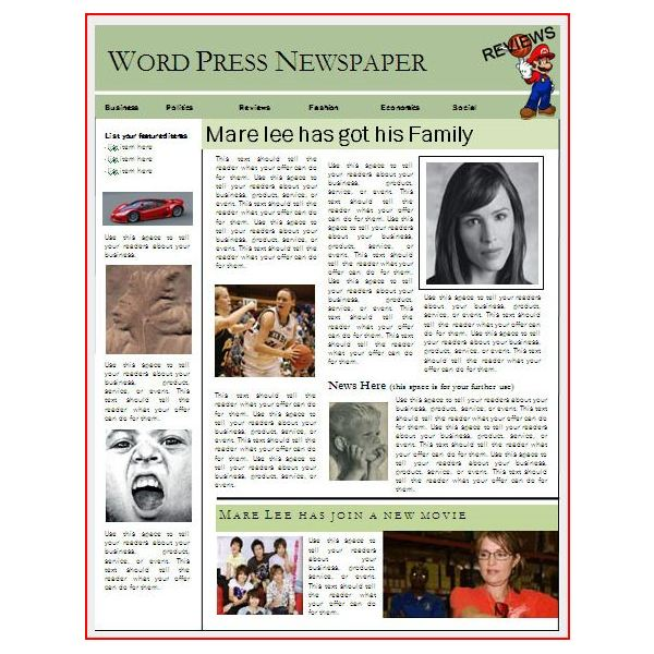 pics photos newspaper article layout template for word