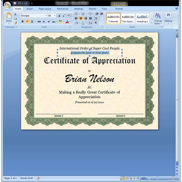 Certificate of appreciation template in word for Ms office certificate template
