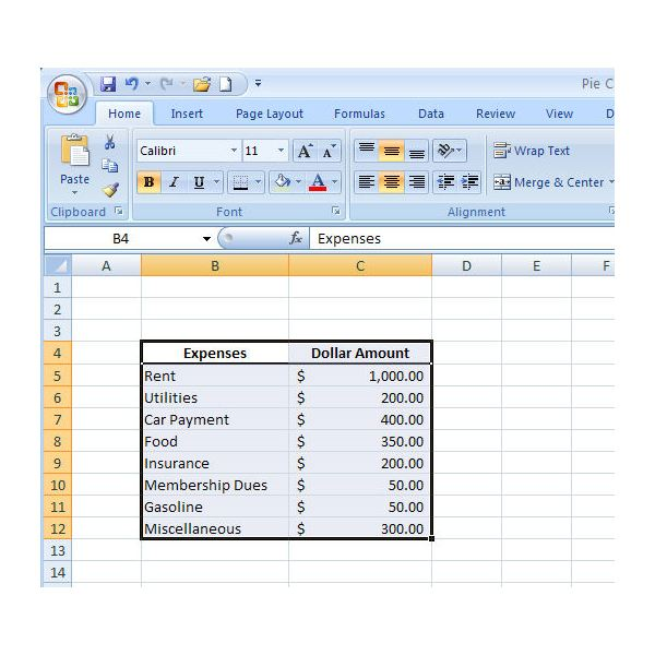 create a pie chart in word