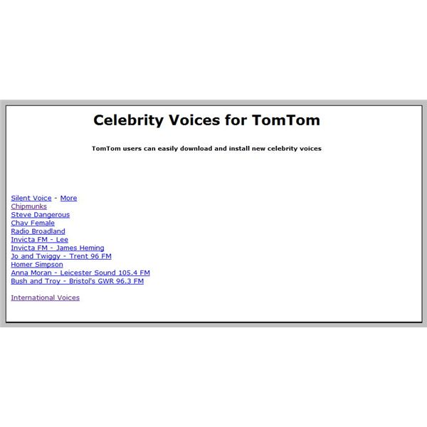 Celebrity voice downloads for the tomtom