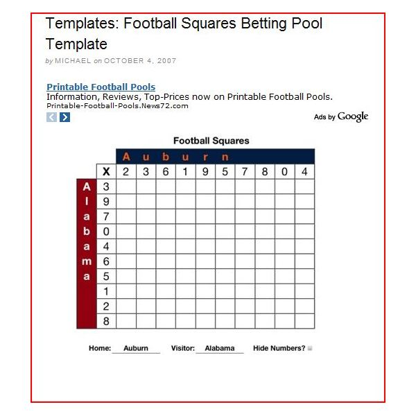 Super Bowl Square Template: Make It Easy On Yourself, The Right