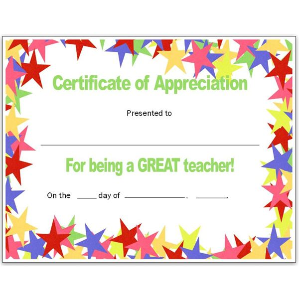 Stars Teacher's Certificate for Publisher