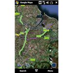 This view from Google Maps for Windows Mobile displays a route highlighted in purple with a traffic blackspot overlay in green