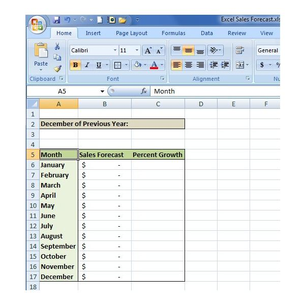 how to create a sales forecast in excel