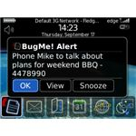 BugMe! Notes and Alarms BlackBerry App