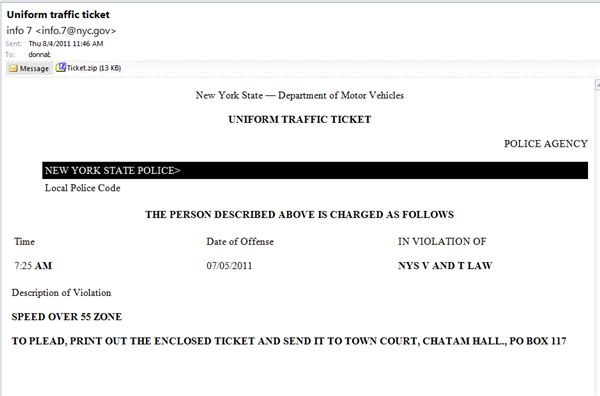 Phished Ticket Police Email