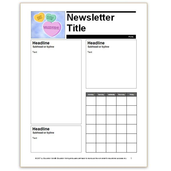 Education World Newsletter Template  Free School Newsletter Templates For Word