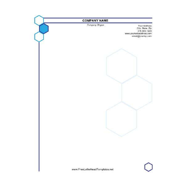 Business Letterhead Hexagon  Business Letterhead Template Free