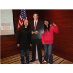 Chinese students with Obama cut -out