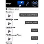 Ringo Custom Ringtones Text Tones LEDs and Call Blocker BlackBerry App