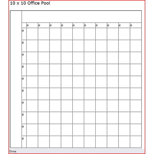 Super bowl squares template excel autos post for Block pool template