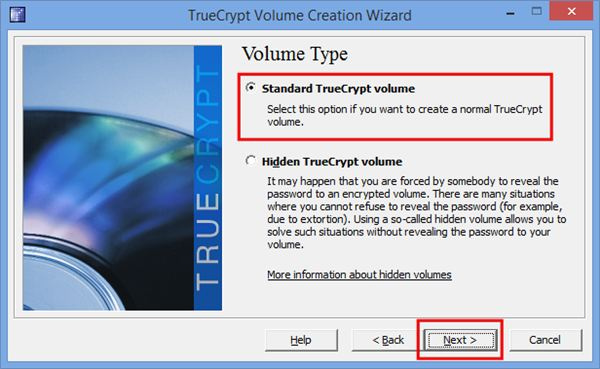 """3.  Select """"Create an Encrypted File Container"""" and click """"Next."""""""