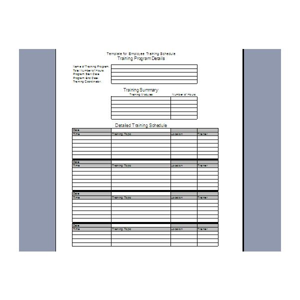 employee training schedule template. Black Bedroom Furniture Sets. Home Design Ideas