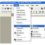 Microsoft Works Beginner - inserting pictures and clipart - menu