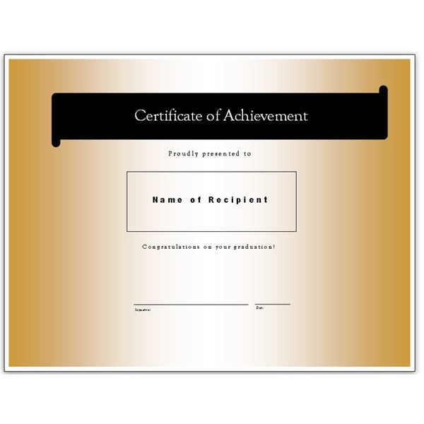 Graduation Achievement Certificate. Black And Gold Achievement  Ms Publisher Certificate Templates