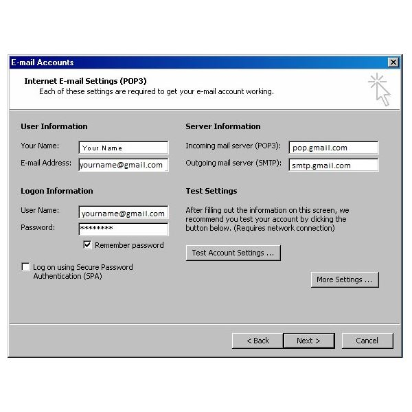 Gmail Outlook Settings - Configure Gmail for Outlook 2003