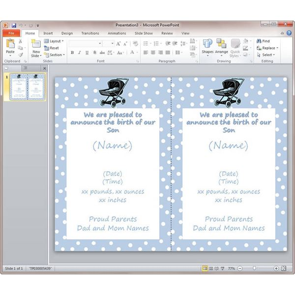 Microsoft Office Power Point Templates Free Downloads PowerPoint – Baby Boy Birth Announcements Templates