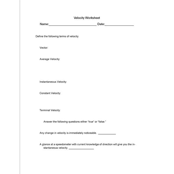 What is Velocity All is Revealed in This Science Lesson Plan – Speed and Velocity Worksheet