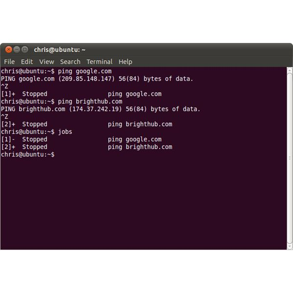 starting stopped jobs in ubuntu linux