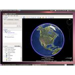 Google Earth showing the world globe on Ubuntu 10.04