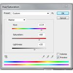 Hue and Saturation settings window