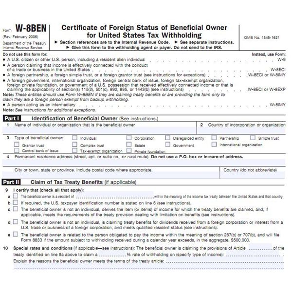 W8ben Tax Form Instructions