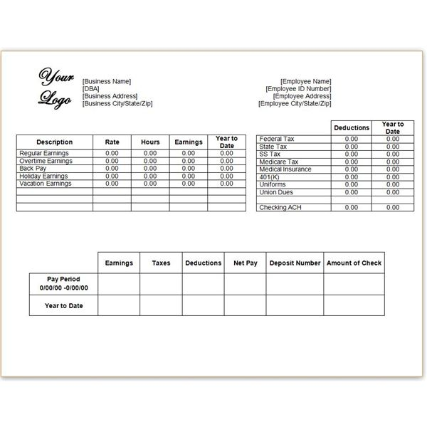 Download a Free Pay Stub Template for Microsoft Word or Excel – Payroll Stubs Templates