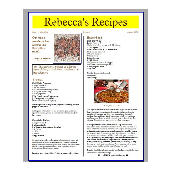 Tips for creating a recipe newsletter or cooking pamphlet with screenshot of preview showing first page layout complete forumfinder