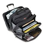 Wengar Patriot Rolling Case Blk Up to 17IN Laptop with notebook case open