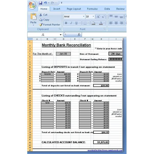 Use a Microsoft Excel Reconciliation Template to Help Your Finances – Bank Account Reconciliation Template