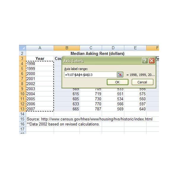 how to make axis labels in excel the same