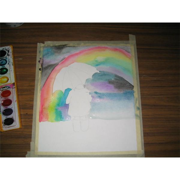 step by visual step watercolor painting project  paint a rainbow  u0026 umbrella lesson for grades 1